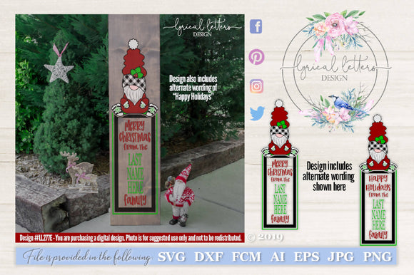 Merry Christmas Gnome Vertical Sign SVG Cut File