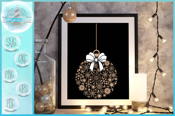 Snowflake Christmas Ornament Mandala SVG