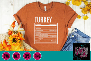 Holiday Food Funny Nutrition Turkey Cut File