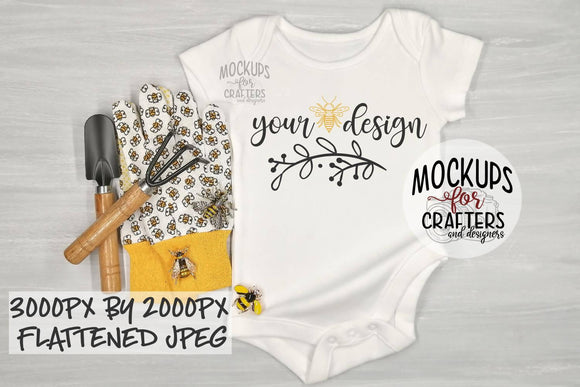 Baby Bodysuit , Bee/Gardening Theme, Mock-Up