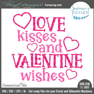 Love Kisses and Valentine Wishes Cut File