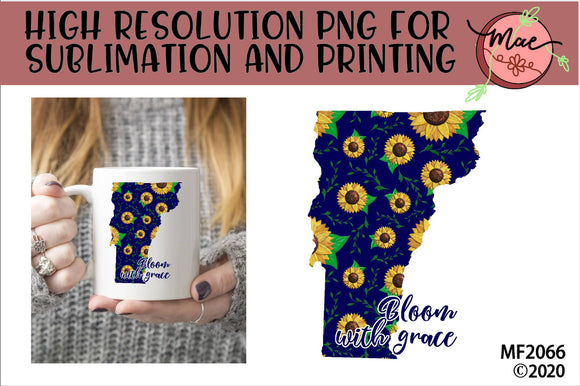 Vermont Sunflower Bloom In Grace Sublimation Design