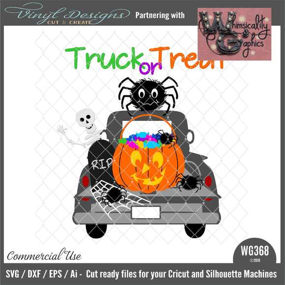 Halloween Antique Truck Cut File WG368