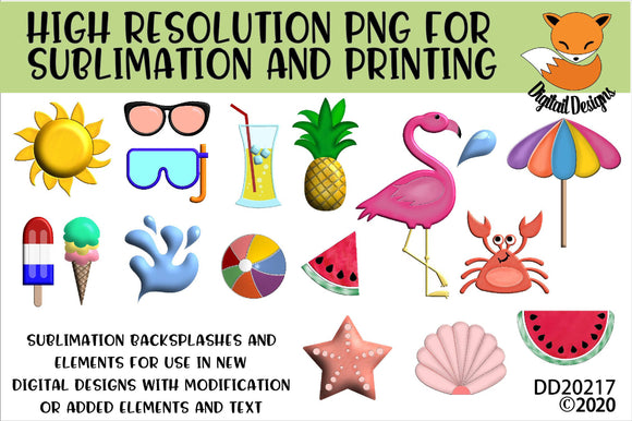 Summer Beach Vacation Clipart Sublimation Element Bundle