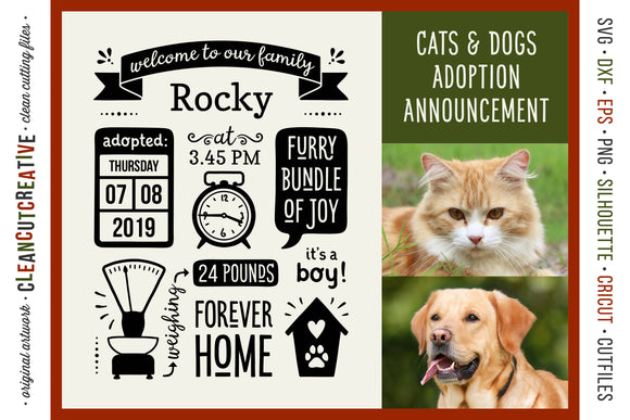 Dog Puppy Announcement Template | Rescue Pet Cat Kitten Adoption Sign SVG