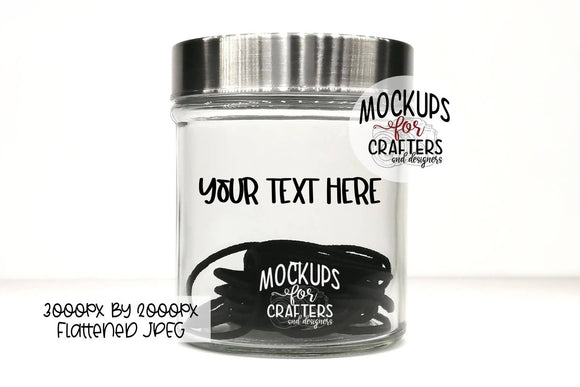 Bathroom Jar MOCK-UP - ponytail holders, hair elastics