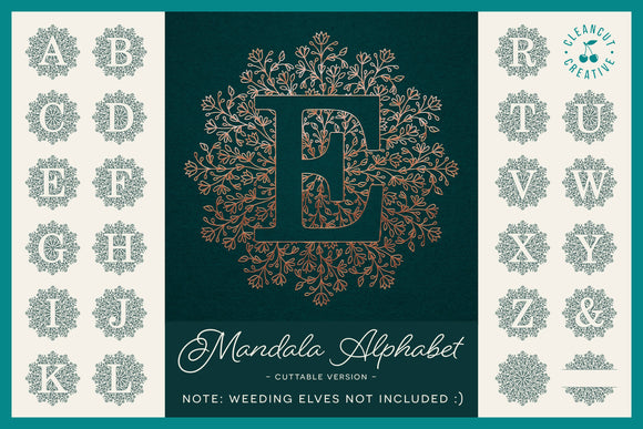 Intricate Mandala Monogram Alphabet for craft cutters in SVG DXF FCM EPS PNG