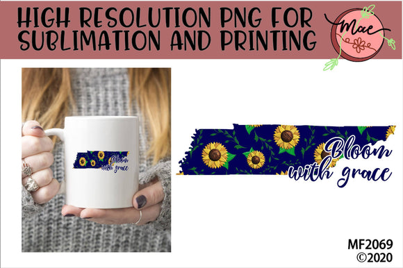 Tennessee Sunflower Bloom In Grace Sublimation Design