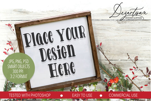 Winter 3:2 Square Wood Sign Mock Up Farmhouse Style PSD, JPG, PNG