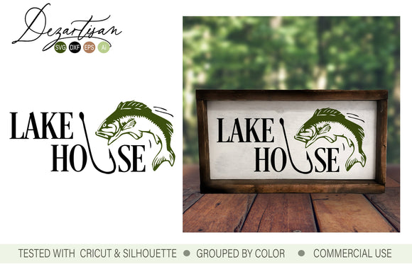 Lake House Sign With Fish SVG | DXF Cut File