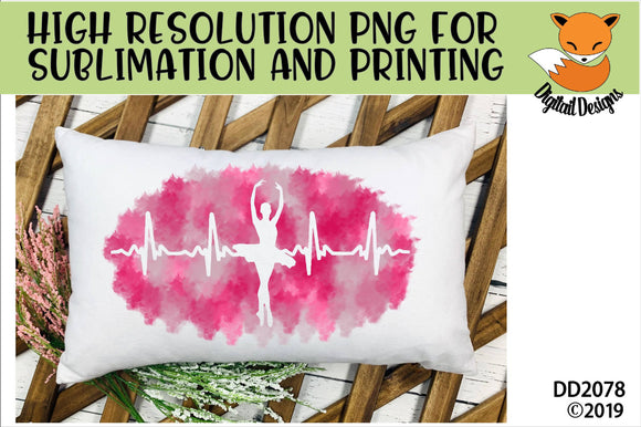 Ballerina Dancer Paint Splatter EKG Sublimation PNG