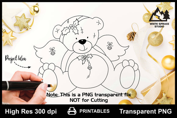 Christmas Angel Bear with Holly & Bells Printable Line Art PNG