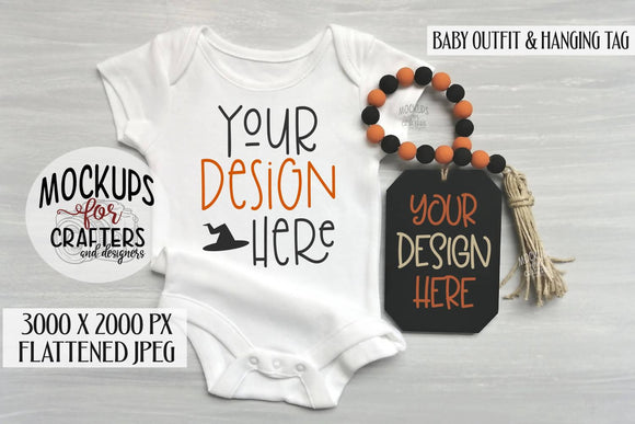 Baby Outfit AND HANGING TAG Mock-Up, Halloween theme