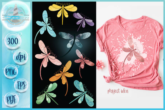 Watercolor Dragonflies with Mandalas Sublimation Designs 300dpi PNG, EPS, PDF