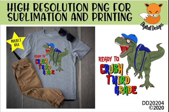 Dinosaur T-Rex Crush Third Grade Sublimation Design