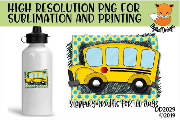 100 Days of School Bus Driver Sublimation Design