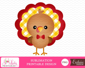 Boy Turkey Thanksgiving watercolor printable sublimation design - Digital download - PNG - Printable graphic design