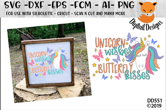 Unicorn Kisses Butterfly Kisses SVG