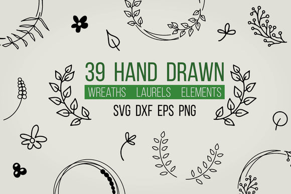 Hand drawn wreaths, laurels and elements