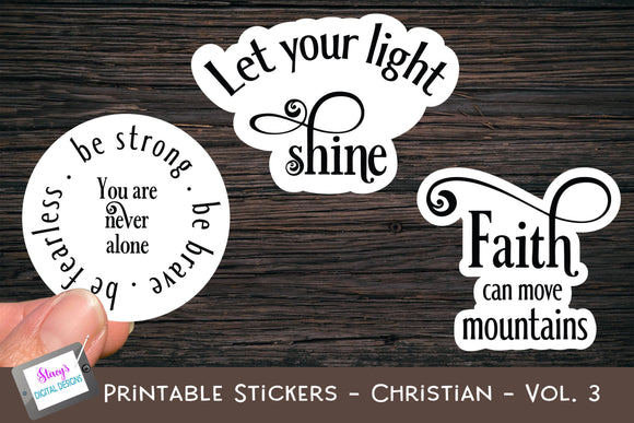 Printable Stickers - Christian Bible Verses - Vol. 3 - PNG