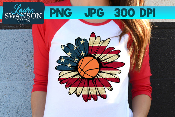 Patriotic Sunflower with Basketball