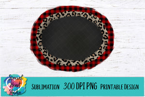 Buffalo Plaid Leopard Frame - PNG Printable