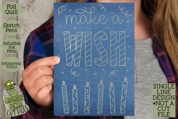 Foil Quill Birthday Card - Make a Wish / Single Line Sketch