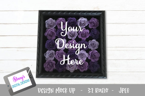 Mock Up - Rolled Flower shadow box - Purple flowers