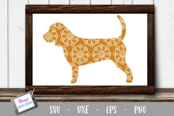 Dog SVG - Beagle with floral mandala pattern