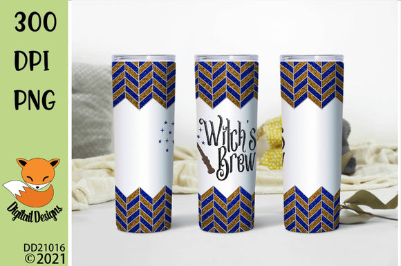 Blue and Bronze Chevron Witch's Brew Skinny Tumbler Sublimation Design
