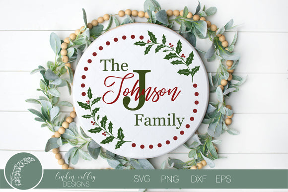 Family Name Round Christmas SVG|Last Name Christmas Round SVG