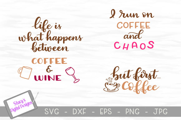 Coffee SVG Bundle - 3 Coffee SVG Designs