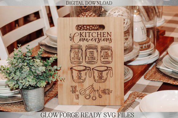 Glowforge Kitchen Conversions Chart | Kitchen Meaurements SVG