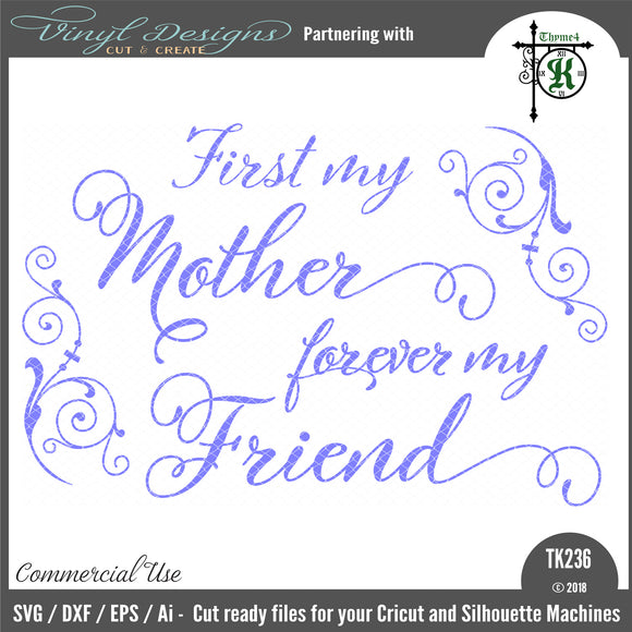 First My Mother Forever My Friend Cut File Svg Font Market