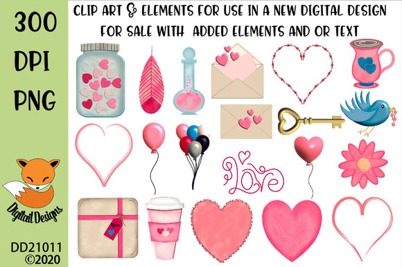 Valentine Clipart Sublimation Element Bundle
