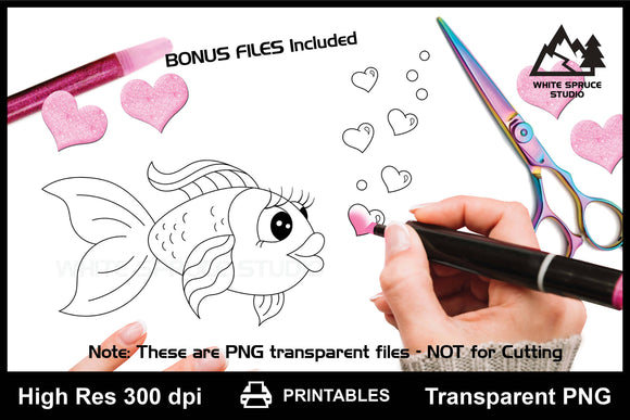 Cartoon Fish Love Bubbles, PNG Transparent, Printable, Line Art