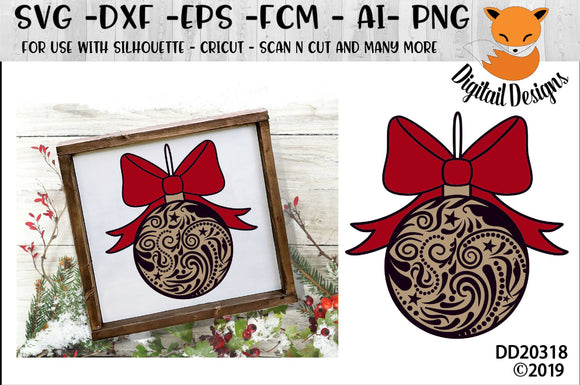 Swirly Christmas Ornament SVG