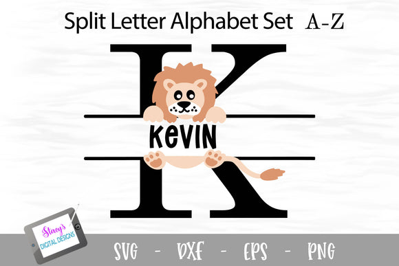 Lion Split Letters A - Z - 26 Split Monogram SVG Files