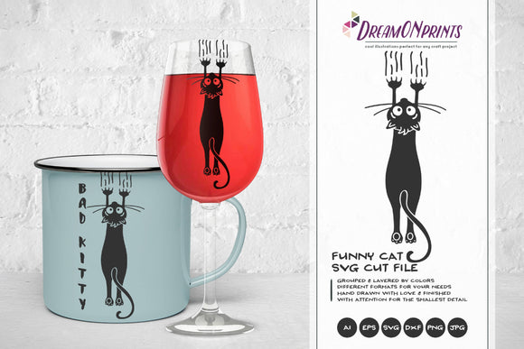 Black Cat SVG Funny Cat, Kitty SVG