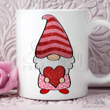 Valentine Gnome watercolor printable sublimation design - Digital download - PNG - Printable graphic design