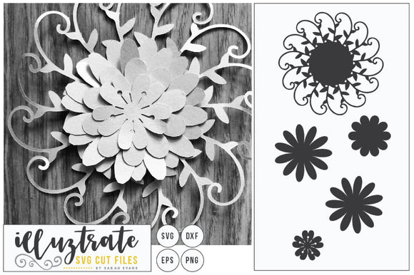 3D Paper Flower SVG Cut File