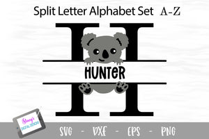 Koala Split Letters A - Z - 26 Split Monogram SVG Files