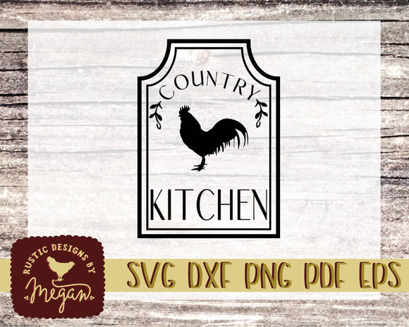 Country Kitchen Farmhouse Rooster SVG DXF Comm Cut file