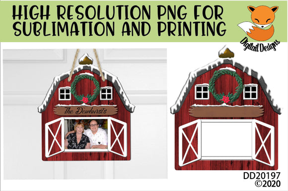 Christmas Red Barn Sublimation Design