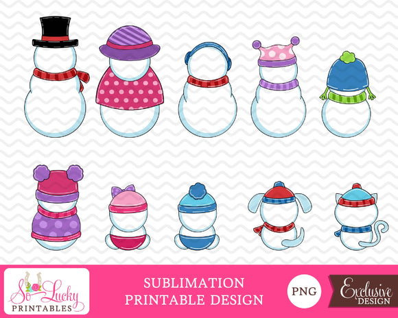 Snowman Family Backside Set of 10 Colorful watercolor printable sublimation design - Digital download - PNG - Printable graphic design