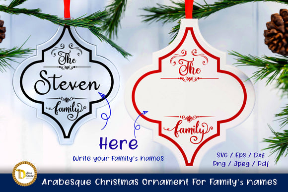 Arabesque Christmas Ornament For Family's names