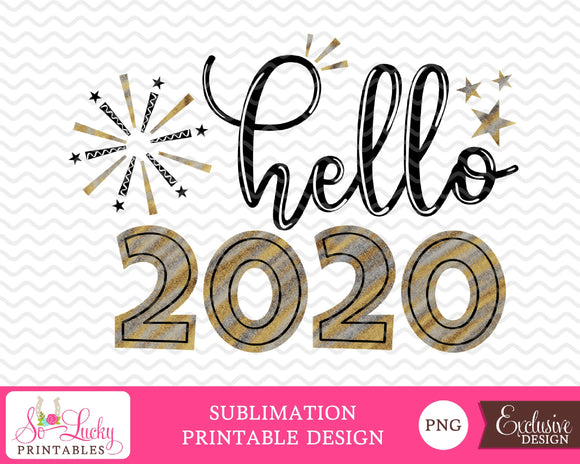 Hello 2020 New Years watercolor printable sublimation design - Digital download - PNG - Printable
