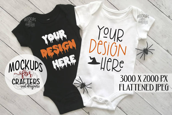 Baby Bodysuit DUO, Mock-Up, Halloween theme