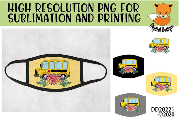 Flower School Bus Sublimation Design for face mask