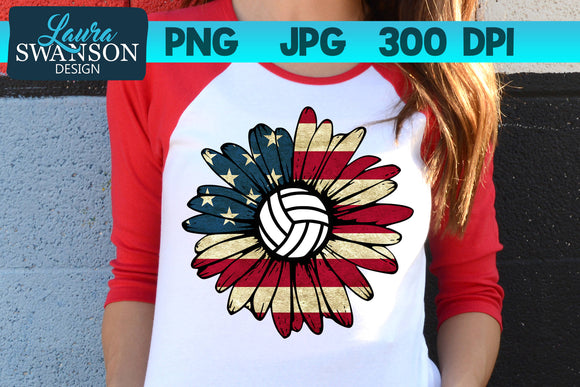 Patriotic Sunflower with Volleyball